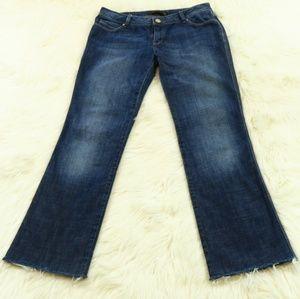 Zara Woman Cut Off Frayed Raw Hem Blue Jeans